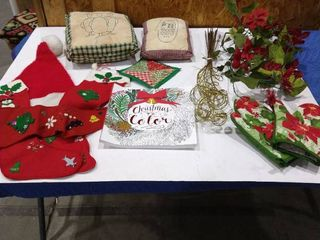 Christmas To Color book and various Christmas decor items
