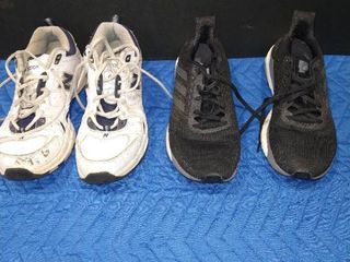 New Balance white and navy blue colored size 9 shoe and Continental Solarboost black grey and white size 9 5 shoes