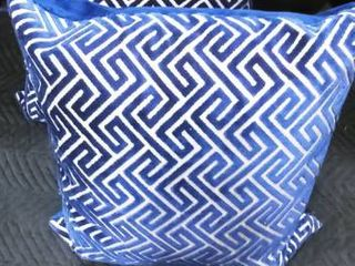 Down feather navy blue and silver decorative pillows 22 x 22 in