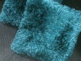 Teal fringe decorative pillows 22 x 22 in