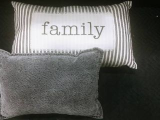 Threshold gray decorative pillow with striped family pillow