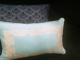 Navy blue  silver and seafoam green  tan decorative feather filled pillows