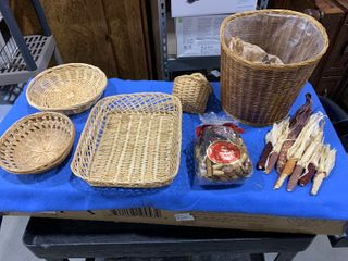 Assorted maize corn with potpourri and straw baskets decor
