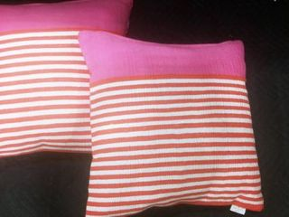 Kate Spade pink and orange canvas and down feather decorative pillows 19 x 19 in