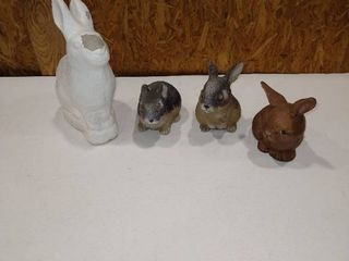 Assorted rabbit statues