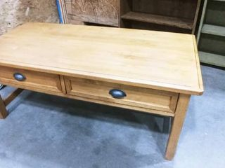 Wooden 2 drawer coffee table 19 x 48 x 24 in