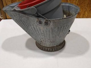 Galvanized Ash bucket and other assorted buckets