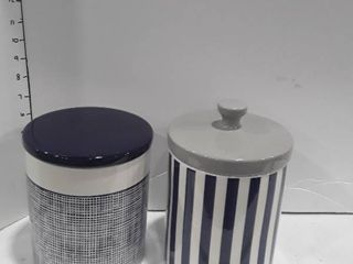 2 Blue and Grey colored canister set