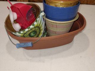 Assorted plant cans  pots with watering device