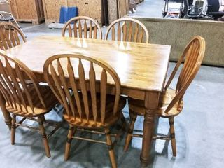 Intercon Furniture oak dining table 30 x 60 x 36 in with 6 chairs