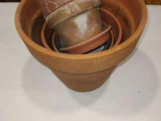 Assorted sized clay plant pots