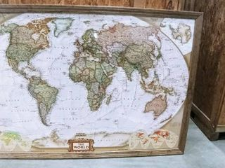 National Geographic framed World map 49 x 74 x 3 in missing top trim piece