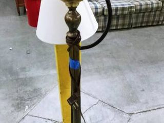 Brass and glass shade floor lamp with black floor lamp that has base damage
