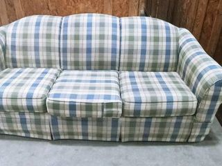 Broyhill Furniture green and blue plaid couch