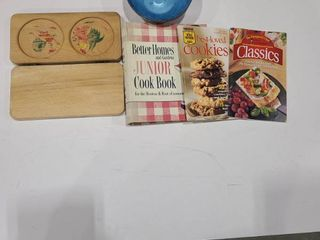 Wooden drink tray  assorted cookbooks and color craft bowl set
