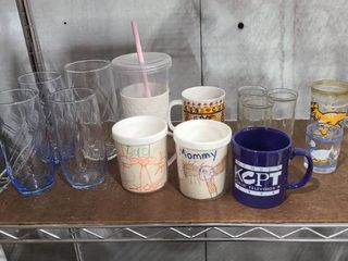 Assorted drinking glasses and cups