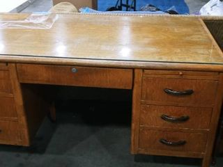 Jasper Office Furniture Company Jackson Desk with glass top 30 x 59 x 33 in