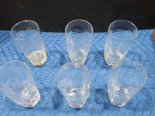6 piece set of glass drinking cups