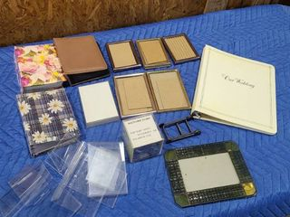 Assorted picture frames  albums and holders