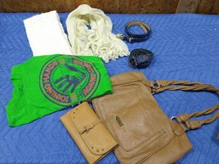 Assorted box with t shirt  scarves  belts  purse and wallet