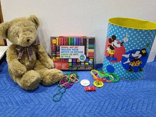 Soft Classics teddy bear  Alex brand travel art set  Mickey   Minnie waste basket and other miscellaneous kid items