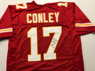 Signed Chris Conley Kansas City Chiefs  17 Custom Jersey James Spence Authentication Witnessed Program