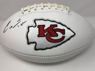 Signed Charcandrick West Kansas City Chiefs logo Football With CJ Sports Authentication with  Go Chiefs  Inscription