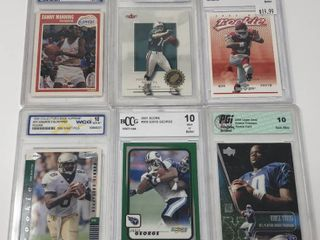 lot of Six Professionally Graded Football and Basketball Cards