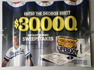 Very Rare lifeBuoy Soap George Brett Advertising Poster   Very Nice Condition