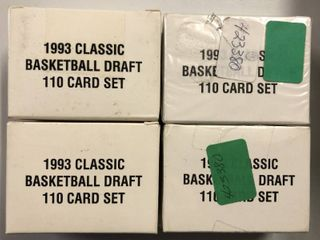 lot of Four 1993 Classic Basketball Draft Picks Trading Cards   110 Cards Each
