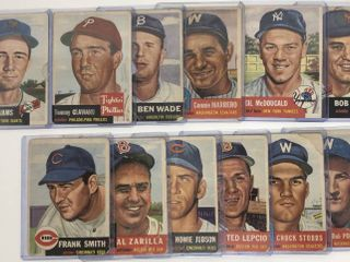 lot of 12 Original 1953 Topps Baseball Cards in Poor Fair Condition
