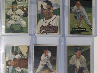 lot of 6 Original 1951 Bowman Baseball Cards in Poor Fair Condition