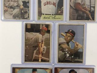 lot of 7 Original Bowman Baseball Cards in Poor Fair Condition