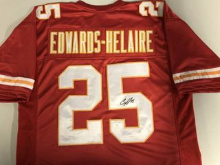 Signed Clyde Edwards Helaire Custom Kansas City Chiefs Jersey With James Spence Witnessed Certification