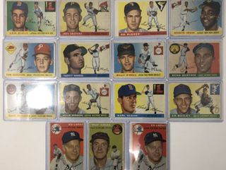 lot of 15 Original 1954 and 1955 Topps Baseball Cards in Poor Fair Condition