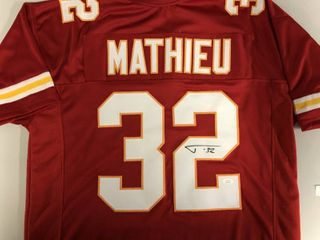 Signed Tyrann Mathieu  32 Kansas City Chiefs Custom Jersey James Spence Authenticated Witnessed