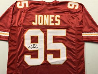 Signed Chris Jones Kansas City Chiefs  95 Custom Jersey with James Spence JSA Witnessed Authentication