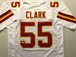 Signed Frank Clark Kansas City Chiefs Custom White Jersey  55 with James Spence JSA Witnessed Authentication