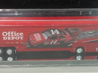 New In Display Case Tony Stewart  14 Office Depot 1 64 Scale Tractor Trailer Truck with Car