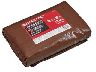 Everbilt 12 ft  x 16 ft  Heavy Duty Brown Silver Tarp   MSRP  38 47