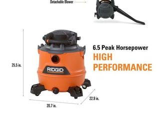 RIGID 16 Gal  6 5 Peak HP NXT Wet Dry Shop Vacuum with Detachable Blower  Filter  Hose and Accessories