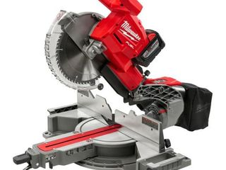 Milwaukee M18 FUEl 18 Volt lithium Ion Brushless Cordless 10 in  Dual Bevel Sliding Compound Miter Saw Kit W 1  9 0Ah Battery   MSRP  599 99