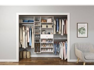 Closet Evolution 84 in  W   108 in  W White Wood Closet System   MSRP  699 99