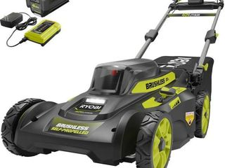 RYOBI 20 in  40 Volt 6 0 Ah lithium Ion Battery Brushless Cordless Walk Behind Self Propelled lawn Mower with Charger Included   MSRP  399 00