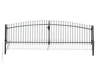 Aleko Athens Style 15 ft  x 5 ft  Black Steel DIY Dual Swing Driveway Fence Gate   MSRP  280 66
