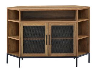 Walker Edison 48  Reclaimed Barnwood TV Console with Mesh Door   MSRP  299 00