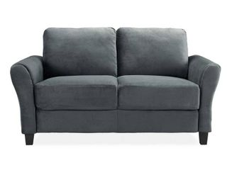 lifestyle Solutions Wesley 31 5 in  Dark Grey Microfiber 2 Seater loveseat with Round Arms   MSRP  260 07