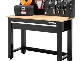 Husky 4 ft  Solid Wood Top Workbench with Pegboard Storage   MSRP  265 99
