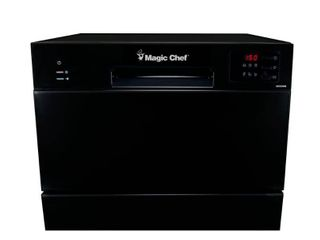 Magic Chef 21 in  Black Electronic Portable 120 volt Dishwasher with 6 Cycles with 6 Place Settings Capacity   MSRP  266 07
