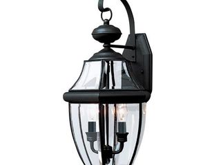 Sea Gull lighting lancaster 10 in  W 2 light Black Outdoor Wall lantern Sconce with Clear Beveled Glass   MSRP  194 96